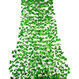 RURALITY Artificial Ivy Plant Faux Ivy Vines Leaves for Wedding,Patio or Yard Decoration (Green 1)