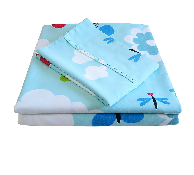 Whisper Organics 100% Organic Cotton Sheet Set, 300 Thread Count - GOTS Certified (Twin, Light Blue)