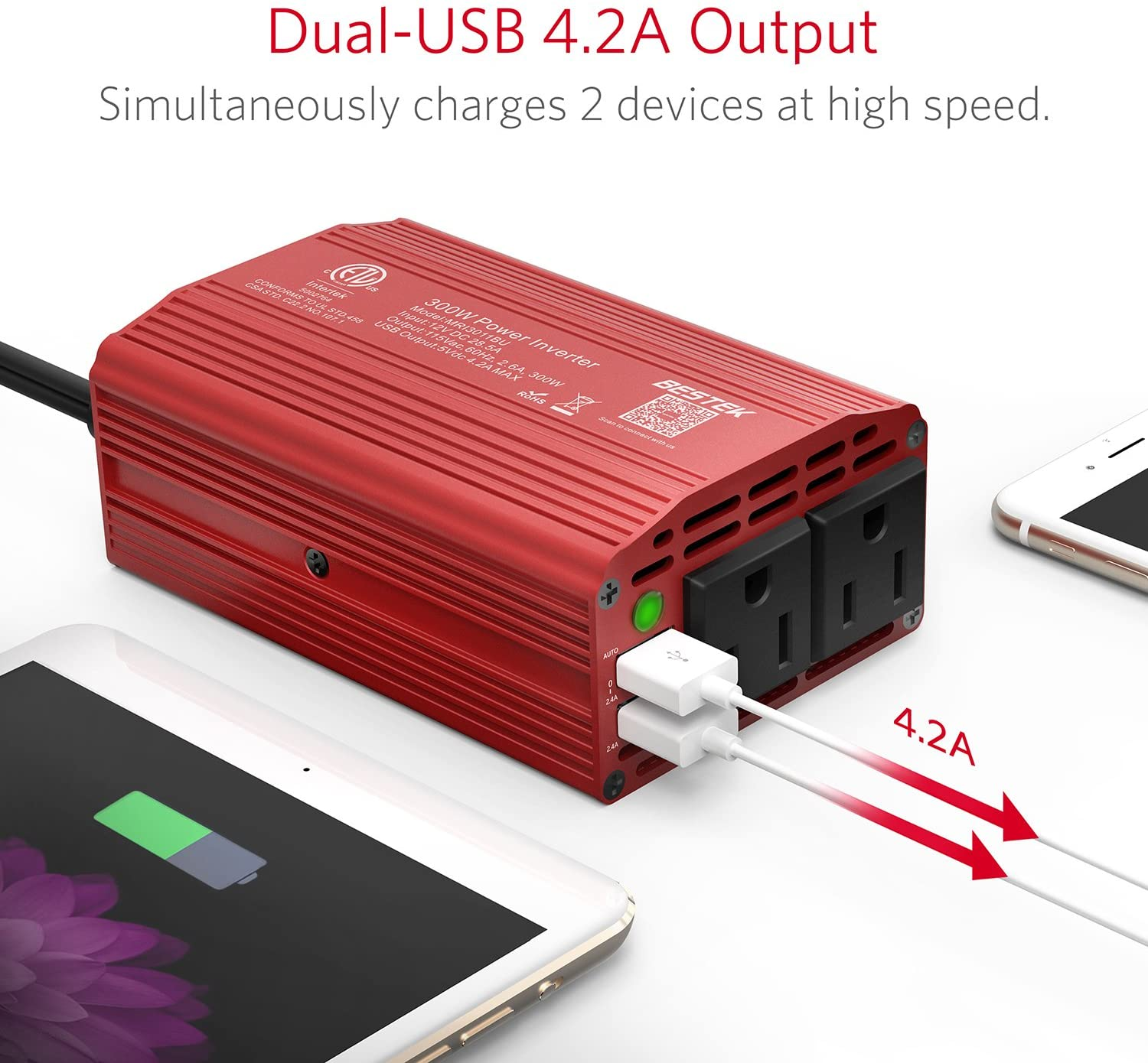 12v Power Inverter Car 12 Volt 240v Mains Charger Laptop 70W Van USB travel 230v