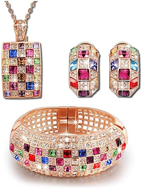 Fashion Jewelry Multi-Color Rhinestone Lovely Rainbow Pendant Chain Necklace