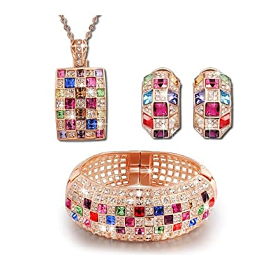 """9b09404eb Fashion Jewelry Collection """"Party Queen"""" Rainbow Multicolor  SWAROVSKI ELEMENTS Crystals Necklace Pendant Cuff"""