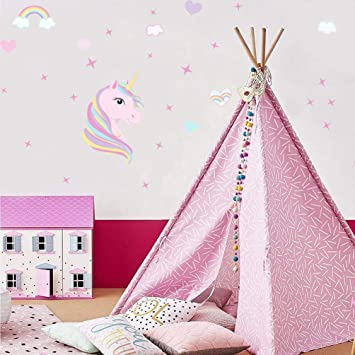 KUYUE Wall Decals Rainbow Unicorn Wall Decal Removable Wall Stickers for  Girls Bedroom Nursery Playroom