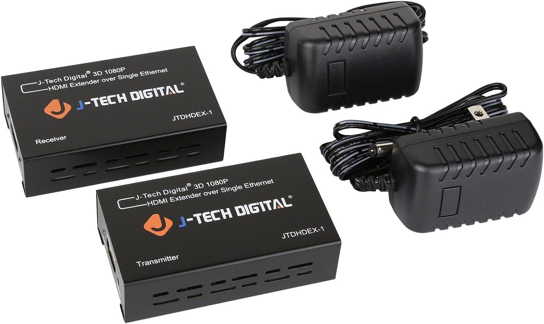 RS-232 Passthrough Bi-Directional IR CEC Supports Dolby Digital J-Tech Digital Long Range HDMI Extender Over Cat6 150m//492ft HDBaseT 1080P Extender PoC JTECH-HDT150 DTS with EDID