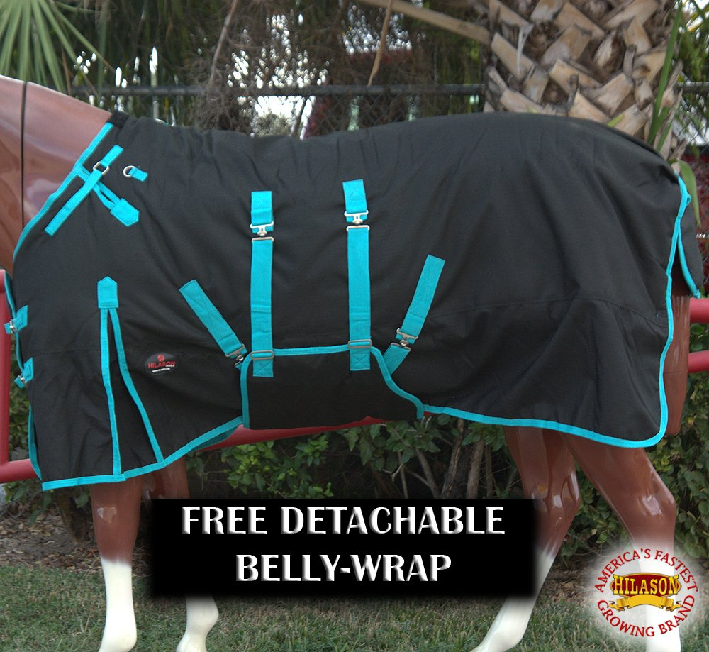 HILASON 75'' 1200D Waterproof Horse Winter Blanket Belly WRAP Black Turquoise