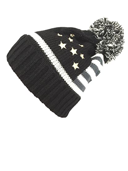 de71f512f58 NY GOLDEN FASHION Women Men American Flag Cuffed Knit USA Flag Patriotic  Beanie With Pom Pom