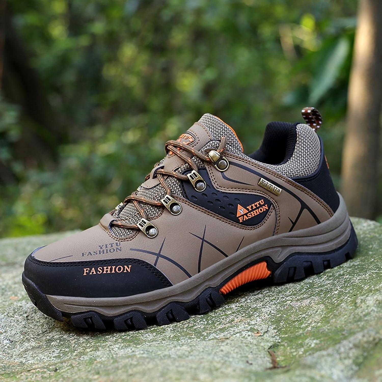 LILY999 Herren Trekking Wanderschuhe Warm Halten Wasserdicht Gleitsicher Stiefel Lässige Sportschuhe(44 EU,Braun)