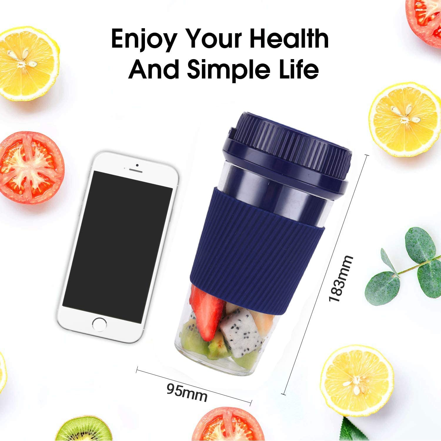 Sifan Portable Blender Mini Personal Blender Home Outdoor Travel Office Portable Mini Juicer Cup Multifunctional Small Household Charging USB Electric Mini Handheld Fruit Juicer,USB Rechargeable BPA Free,10oz//300ml Pink