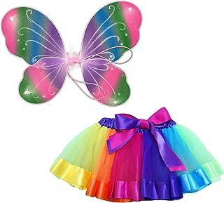 Beetest 2pcs Bambini Ragazze Arcobaleno Ali di Farfalla Dolce Tutu di Danza del Balletto Gonne Costume Vestito