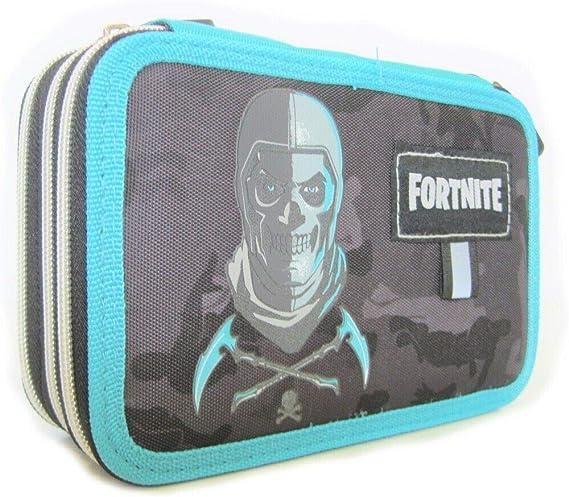 Fortnite - Estuche escolar con 3 cremalleras, color azul: Amazon.es: Oficina y papelería