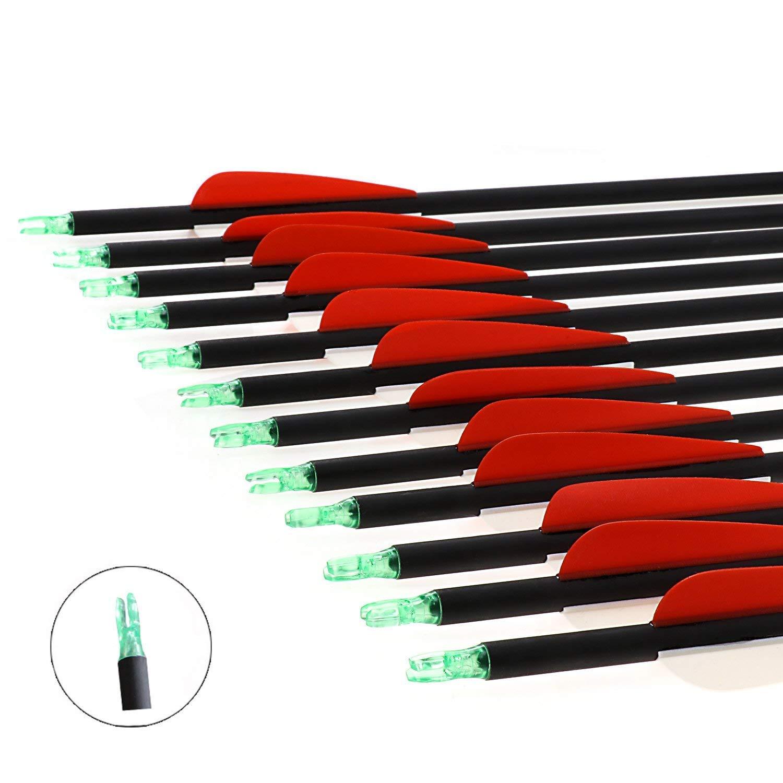 RunFa 12 er 30 Zoll Pfeile f/ür bogenschie/ßen 900 Carbon Pfeile f/ür Bogensport mit kunstfedern Jagdpfeile f/ür Bogen Recurvebogen Langbogen und Compound Bogen