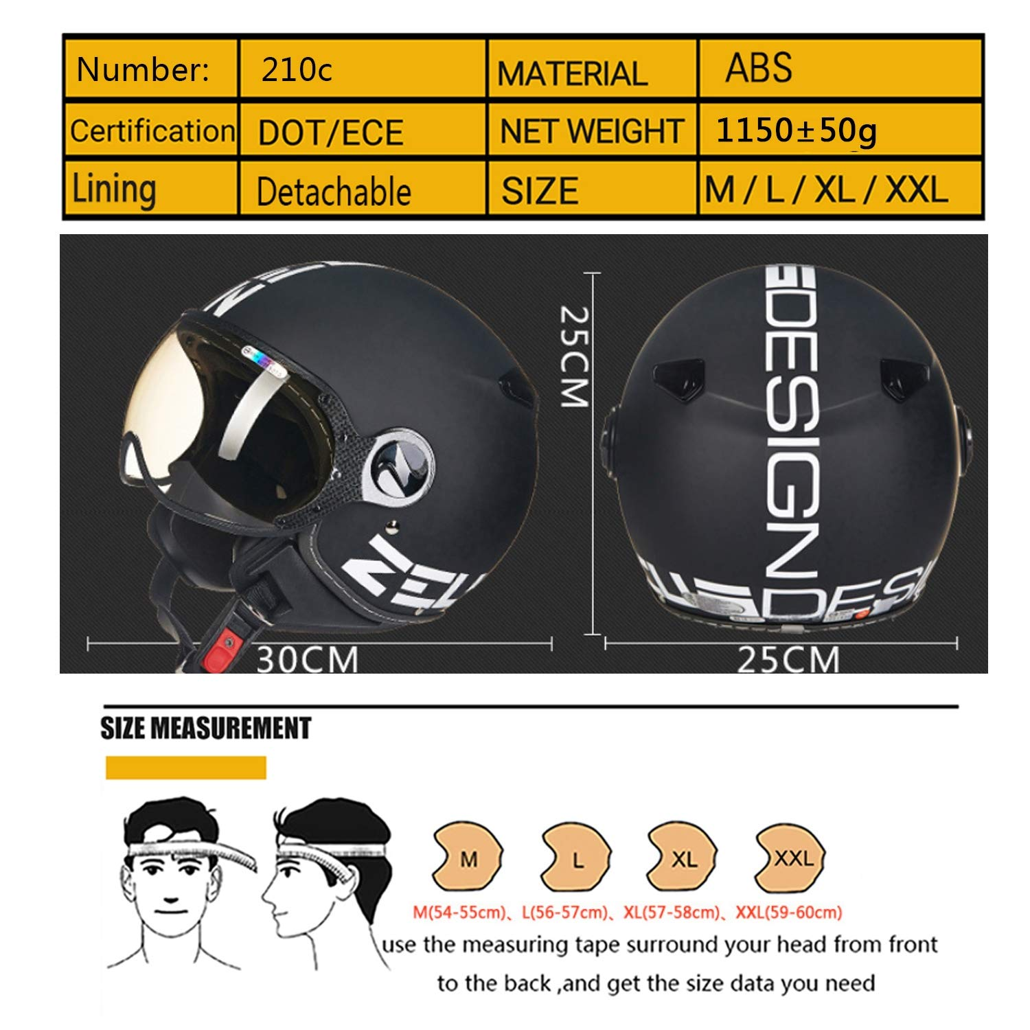 Open Face Vintage Harley Helmets with Double Sunshade Goggles for Cruiser Scooter DOT Approved,M MMRLY Womens Half Face Motorcycle Helmet