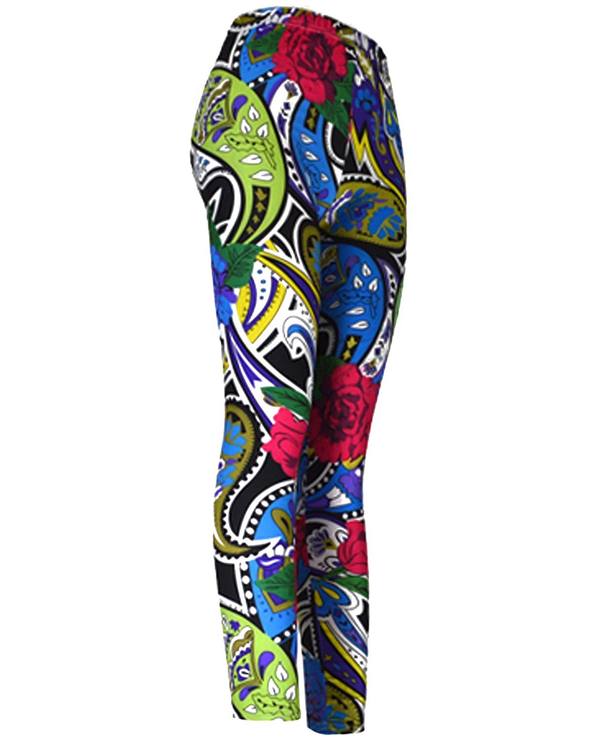 """Paisley and Roses"" Colorful Ladies Footless Printed Leggings"
