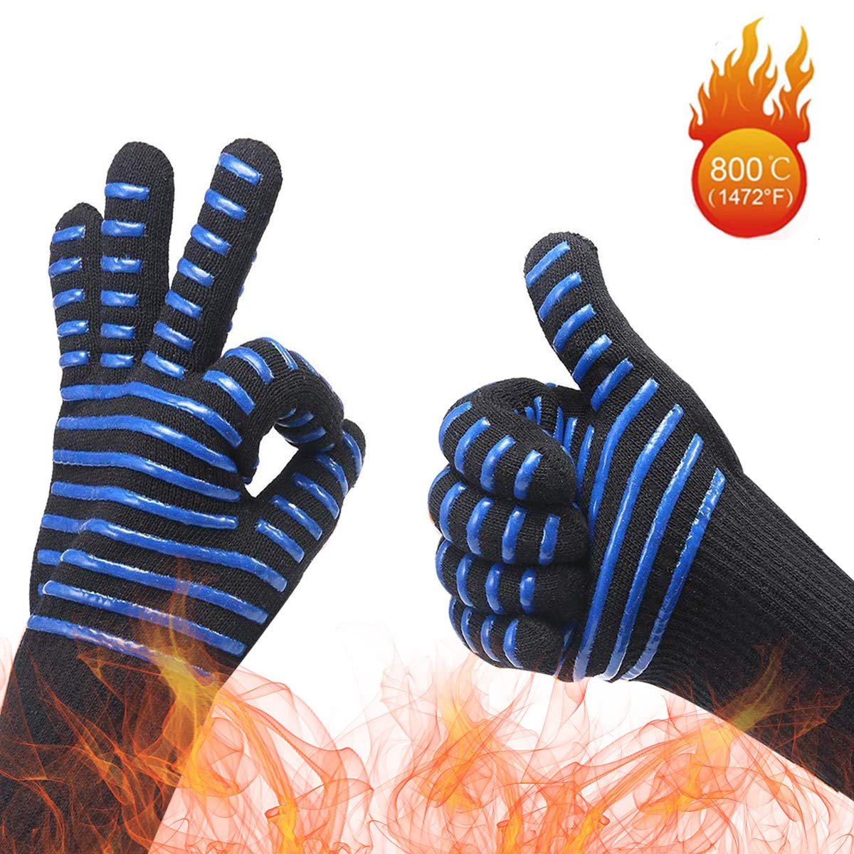 MYUREN BBQ Cooking Grill Gloves 1472°F Professional Heat Resistant Gloves Food Grade Kitchen Oven Gloves Heatproof Adiabatic Silicone Insulated Cooking Oven Mitts for Grilling,Welding,Baking, 1 Pair