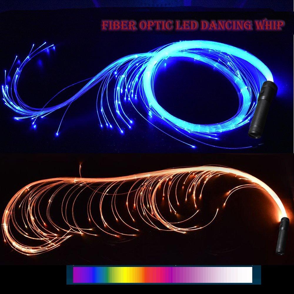 COMLZD 2 Pack Fiber Optic Dance Whip Light-up Led Lights Rave Party for Dancing Party Favor by COMLZD (Image #1)
