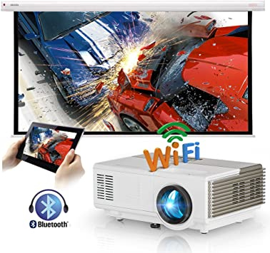 Mini proyector inalámbrico portátil con Bluetooth HDMI WiFi, Android Smart Video Projector HD, LED LCD Home Outdoor Movie Game Proyector Soporte 1080P para iPhone iPad TV Laptop DVD Mac USB: Amazon.es: Electrónica