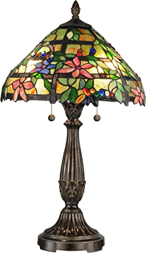 Dale Tiffany TT12364 Tiffany Mica Two Light Table Lamp from Classic Collection in Bronze Dark Finish, 16.00 inches, Fieldstone