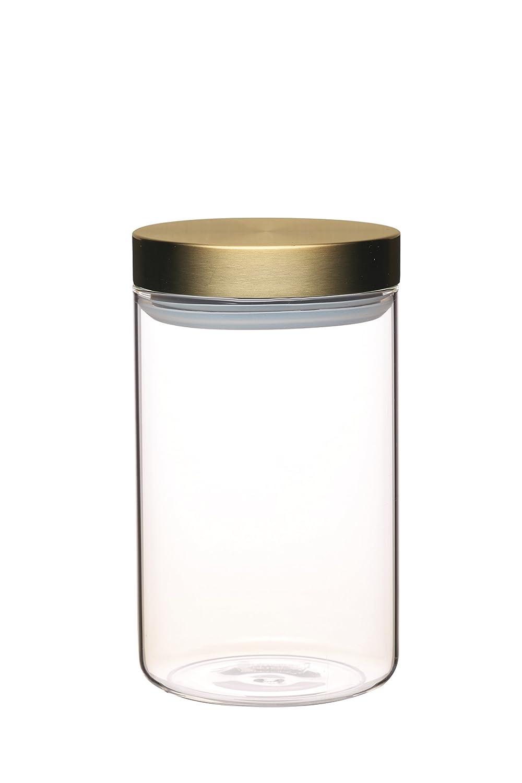 KitchenCraft MasterClass Airtight Glass Food Storage Jar with Brass Lid, Transparent, 1 L (1.75 Pints) MCCANMEDCOP
