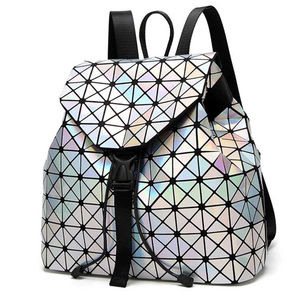 DIOMO Geometric Lingge Laser Women Backpack Travel Shoulder Bag(Laser) by DIOMO (Image #2)