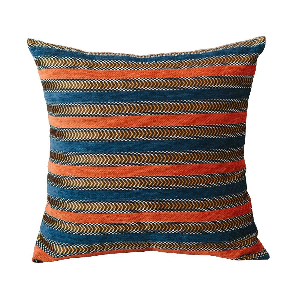 M MOCHOHOME Decorative Chenille Stripe Square Throw Pillow Cover Case Pillowcase Cushion Sham - 18'' x 18'', Denim Blue/Orange