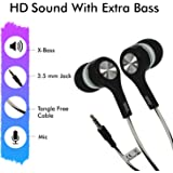 AllExtreme EXHF315 MAK 3.5mm Wired Earphone with Mic Stereo Bass Sport Workout in-Ear Earbuds Headphone for Mobile and Laptop (Random Colour)