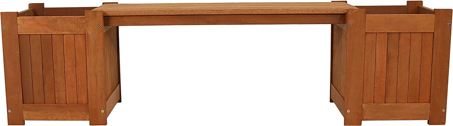 Patio 68-Inch Furniture for Garden Wooden Outside Seating Porch and Deck Sunnydaze Meranti Wood Outdoor Planter Box Bench with Teak Oil Finish Backyard