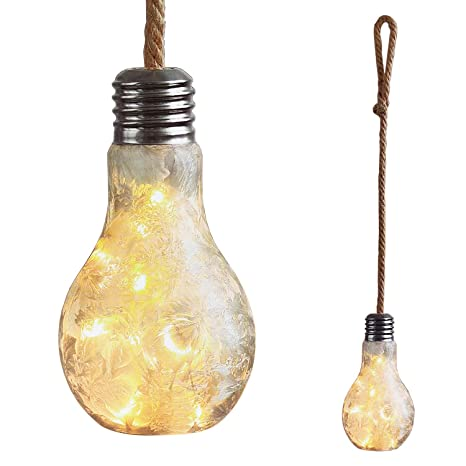 Mojawo XXL Bombilla LED Deko lámpara Vidrio Satinado con Cuerda para Colocar de pie o Colgar