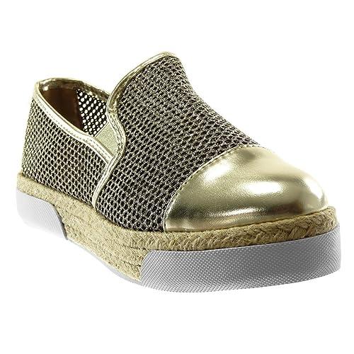 Angkorly - Zapatillas Moda Alpargatas Mocasines Suela de Zapatillas Plataforma Slip-on Mujer Perforado Brillante Cuerda tacón Plano 3 CM: Amazon.es: Zapatos ...