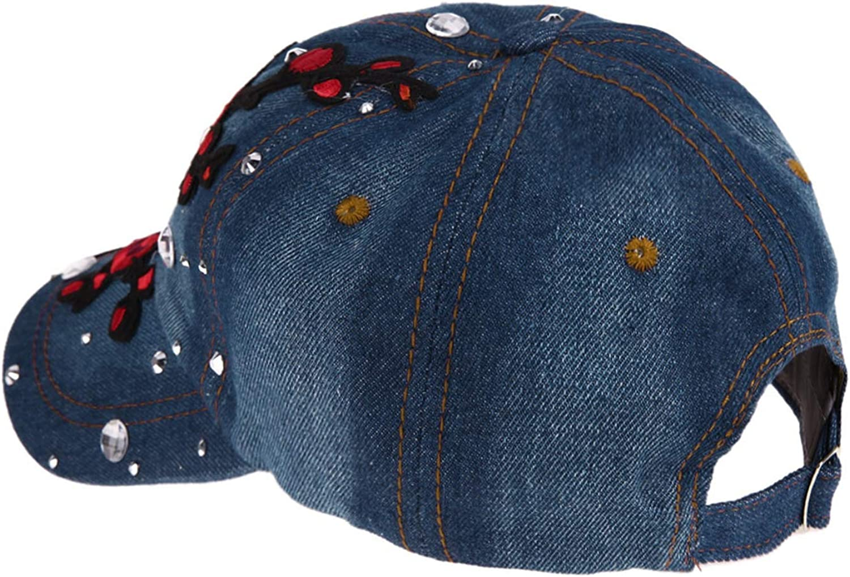 Womens Baseball Cap Flower Embroidery Rhinestone Hip-hop Cap Adjustable Jeans Girls Outdoor Sun Hat