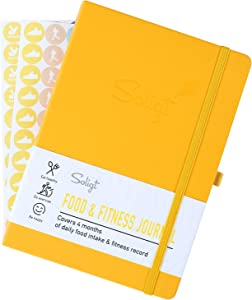 Soligt Food & Fitness Journal and Planner with Wellness Nutrition Record for Meals, Workout, Weight Loss and Diet Tracking 4 Months in A5 Size