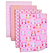 Carter's 4-Pack Cotton Flannel Receiving Blankets, Girly Owls