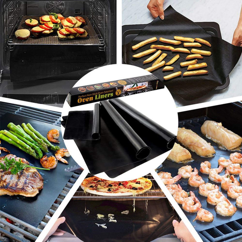 WISHPOOL Grill Mat Set of 3 - Non Stick Reusable Heavy Duty BBQ Grill&Baking Mats - Works on Gas, Charcoal, Electric Grills (Black)