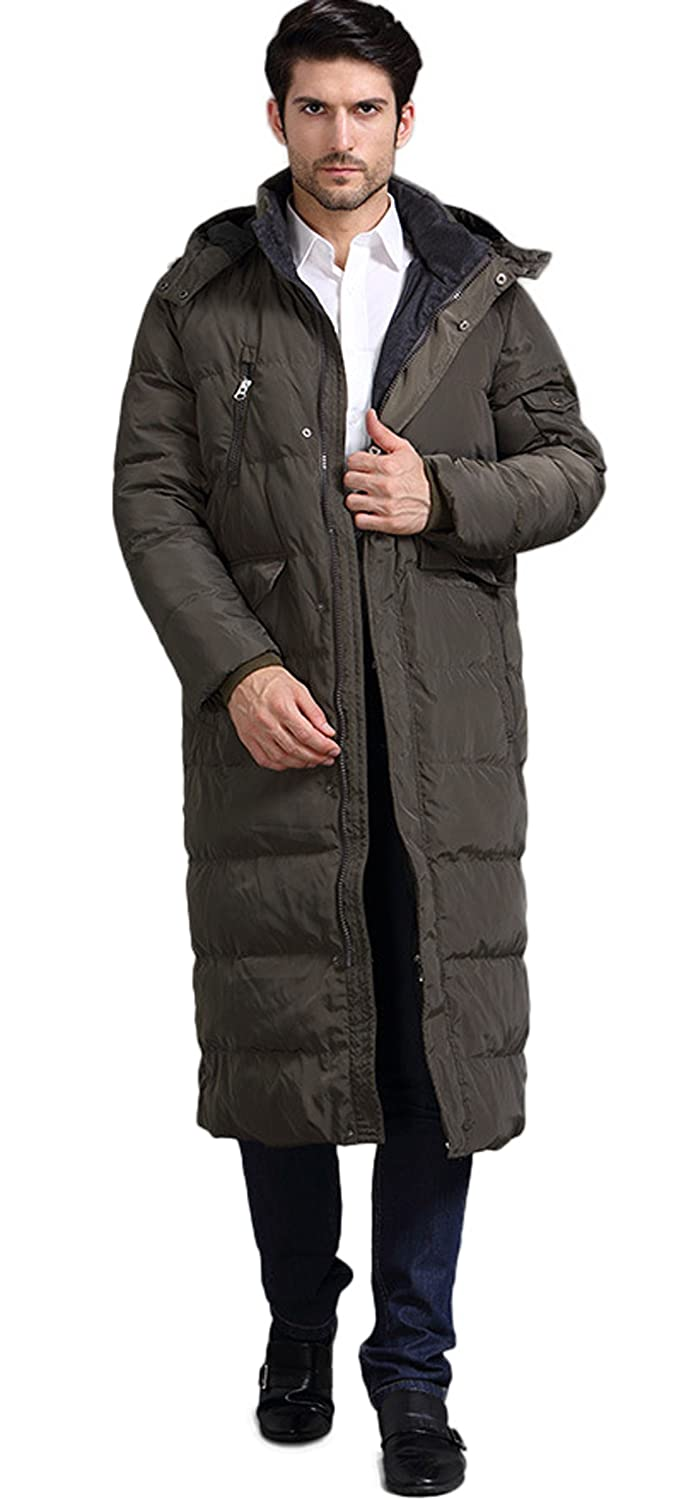 fe9361f6f9 Chartou Men s Fashion Thickened Oversized Windproof Long Hooded Down Coat  Jacket at Amazon Men s Clothing store