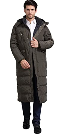 861ce5c4cc3fa Chartou Men s Fashion Thickened Oversized Windproof Long Hooded Down Coat  Jacket (X-Small