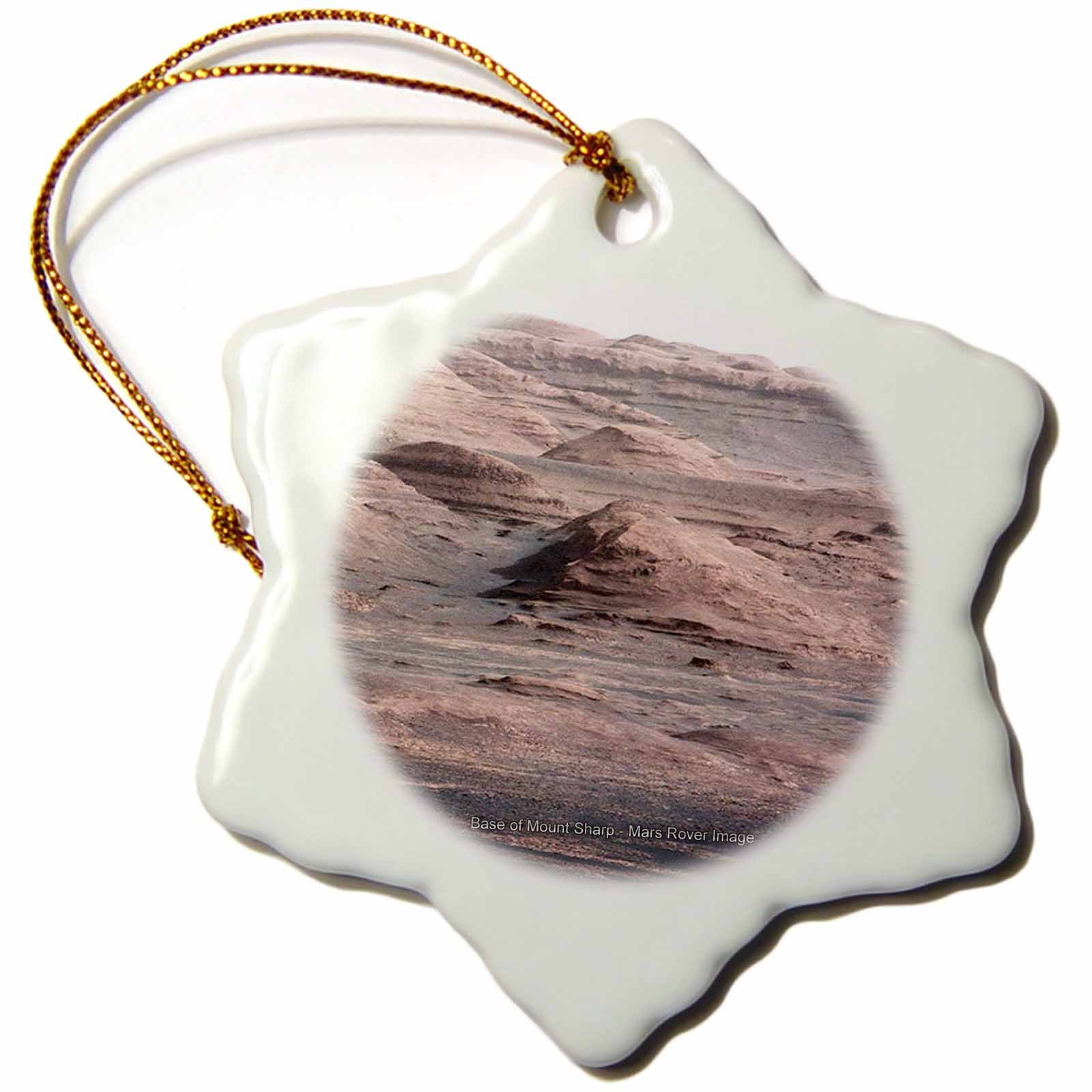 3dRose orn_76835_1 Solar System Base of Mount Sharp Mars Rover Image Snowflake Porcelain Ornament, 3-Inch