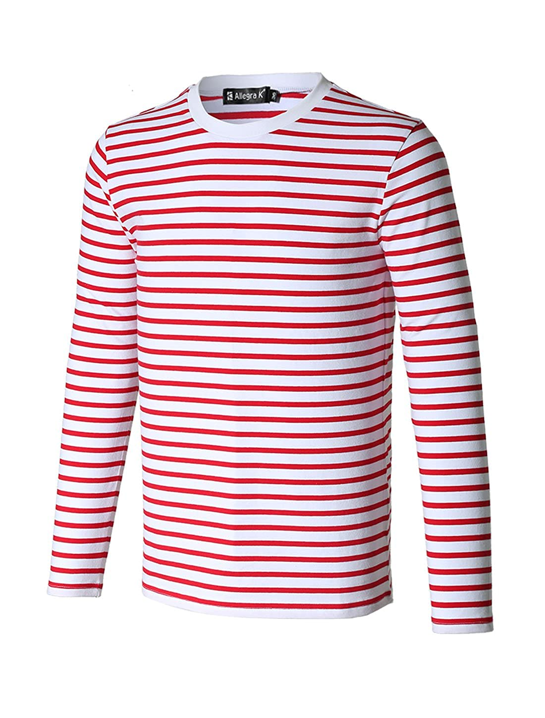 Men's Pirate Crew Neck Red Striped Long Sleeves T-Shirt