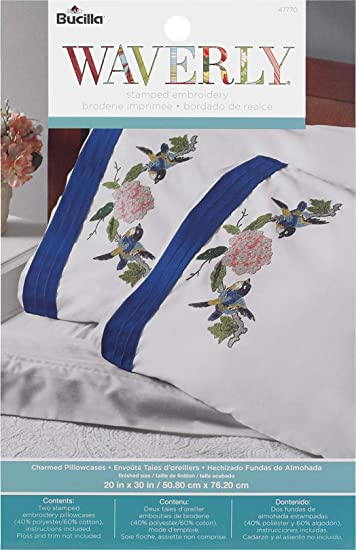 "Bucilla 47770 Stamped Embroidery Pillowcase Pair 20""X30"" ..."