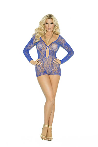 7ea36652b1e Image Unavailable. Image not available for. Color  Sexy Women s Plus Size  Lingerie Long Sleeve Keyhole Front Lace Romper