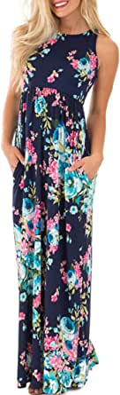 roswear Women's Summer Casual Floral Print Racerback Sleeveless Tunic Maxi Dress