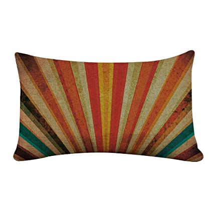 Yilooom Rectangle Pillowcase Cover Molodecs Multicolor Sunbeams Orange Lumbar Pillow Covers Cases 14x24 Inches