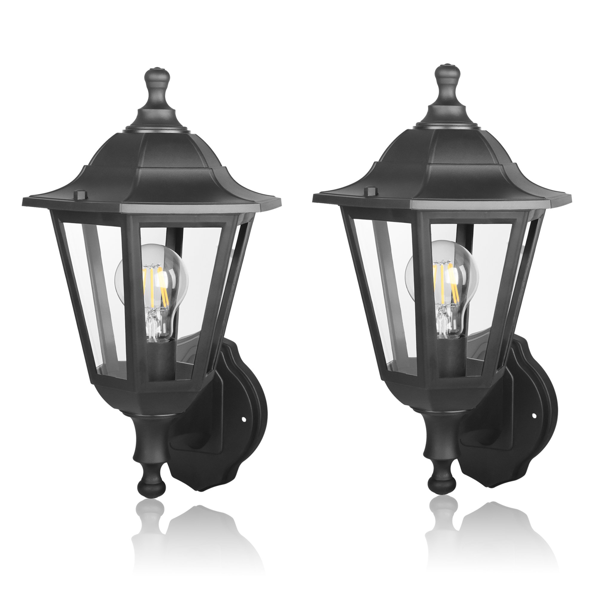 UNITEC LIGHTING Outdoor Wall Lantern LED Light Fixtures, Pro Plastic Material Innovation, Waterproof Exterior Mount Black Lanterns Lamp for Outside Porch, Garage (Pack of 2)