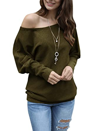 f6ee7307b Womens Off The Shoulder Sweater Oversized Knit Long Batwing Sleeve ...