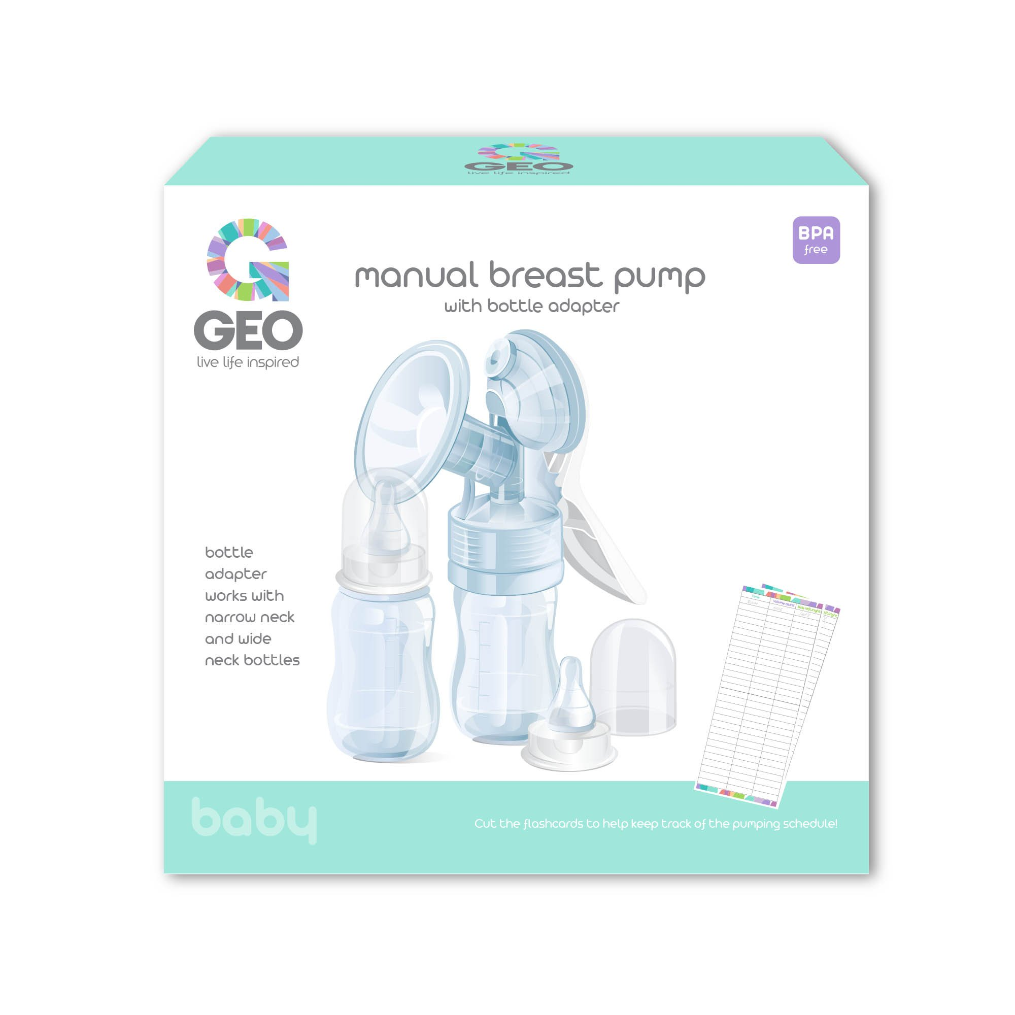 Manual Breast Pump | with Bottle Adapter for Narrow and Wide Neck Bottles | Soft Silicone Shield | Perfect for Breastfeeding Mothers | BPA Free | Includes 2 x 4 Ounce Feeding Bottles by Geo