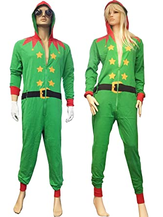 Rimi Hanger Mens Womens Red Santa And Green Elf Onesie Costumes Adults  Fancy Xmas Party Dress 8a0890164