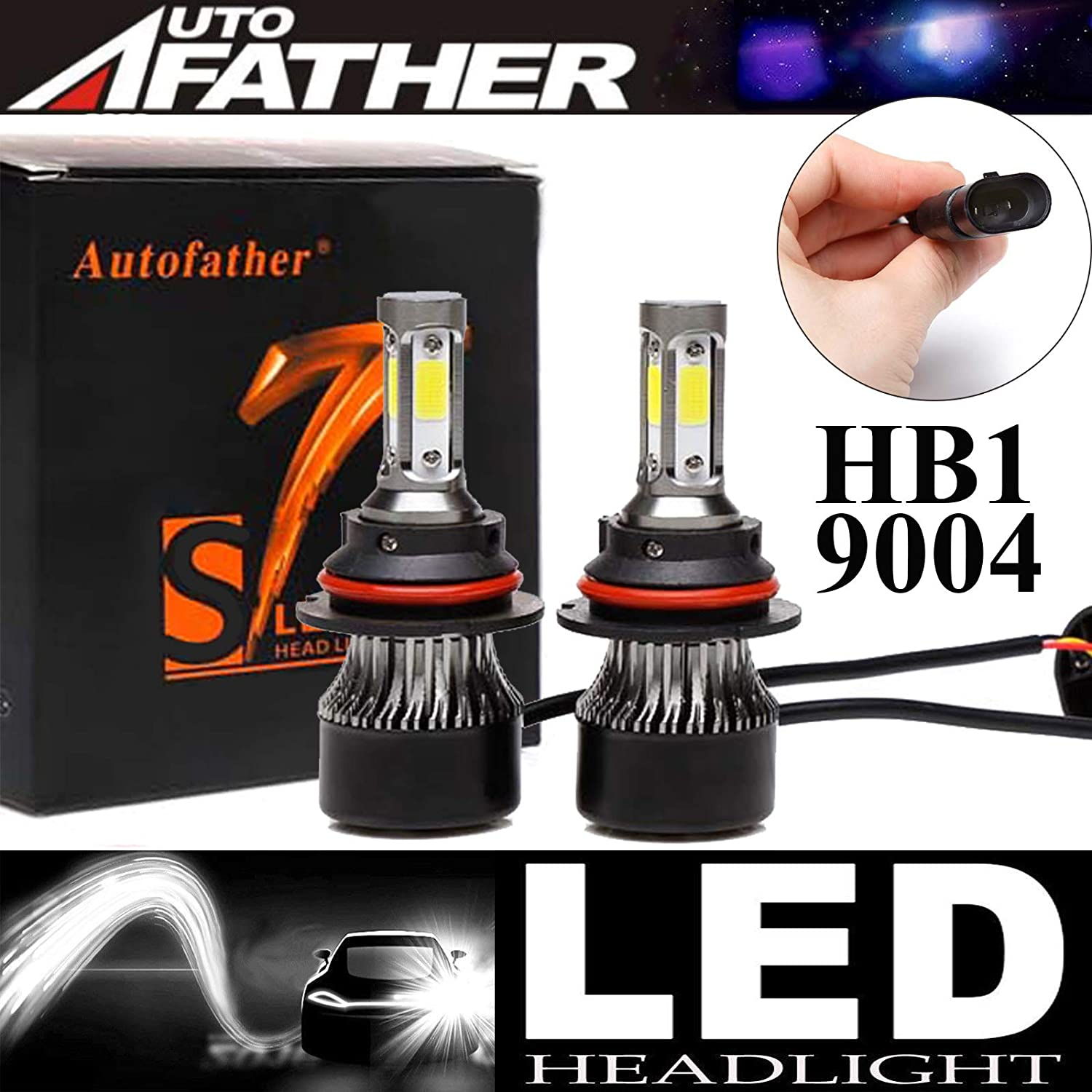 LED Headlight Bulbs 9006//HB4 High Beam//Low Beam Package of 2 4 Sides 240W High Power 24000LM Super Bright 6000K White Headlamp//Fog Light//DRL Replacement Kit