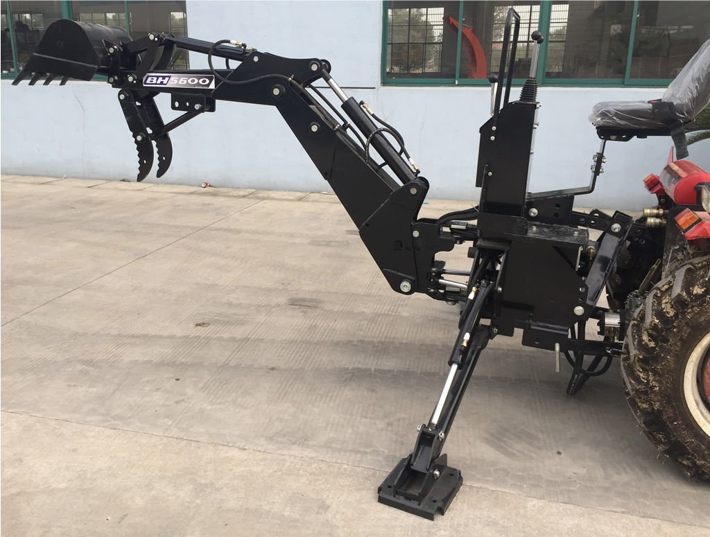 3 Point Hitch PTO BH5600 Hydraulic Farm Tractor Backhoe Attachement Excavator with Bucket, Category 1