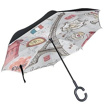 ALAZA París Torre Eiffel café de postre de macarons Pinwheel Francia puede paraguas paraguas plegable de