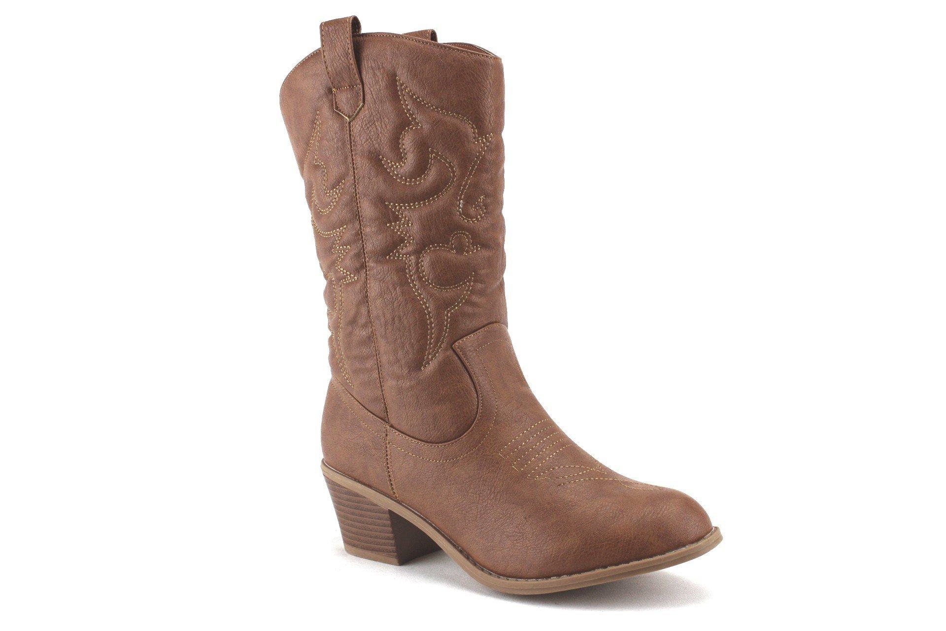 J'aime Aldo Women's TEX-25 Tall Stitched Western Cowboy Cowgirl Boots, Tan, 6.5