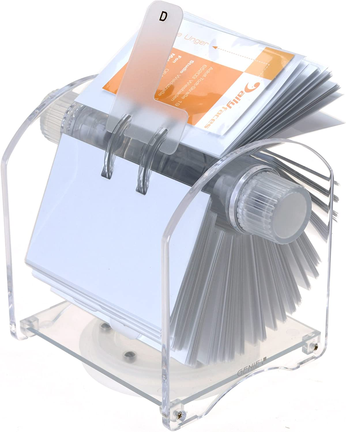 Genie Rotator Rotary File for 400 Business Cards with 24-Part Register and 200 Transparent Sleeves