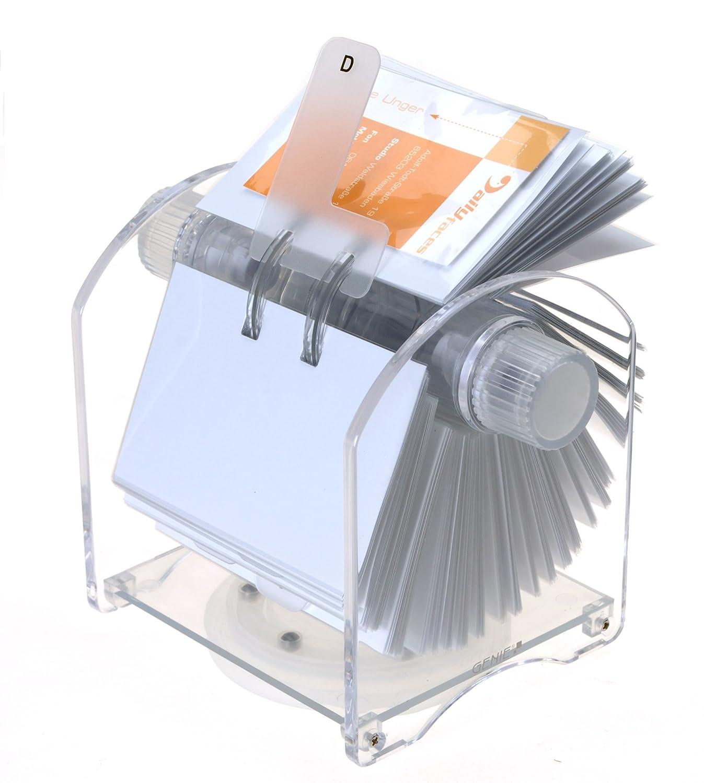 Genie Rotator Rotationskartei (400 Visitenkarten, 24-teiliges Register, 200 transparente Hüllen, aus hochwertigem Acryl, drehbarer Karteikasten) 200 transparente Hüllen Dieter Gerth GmbH