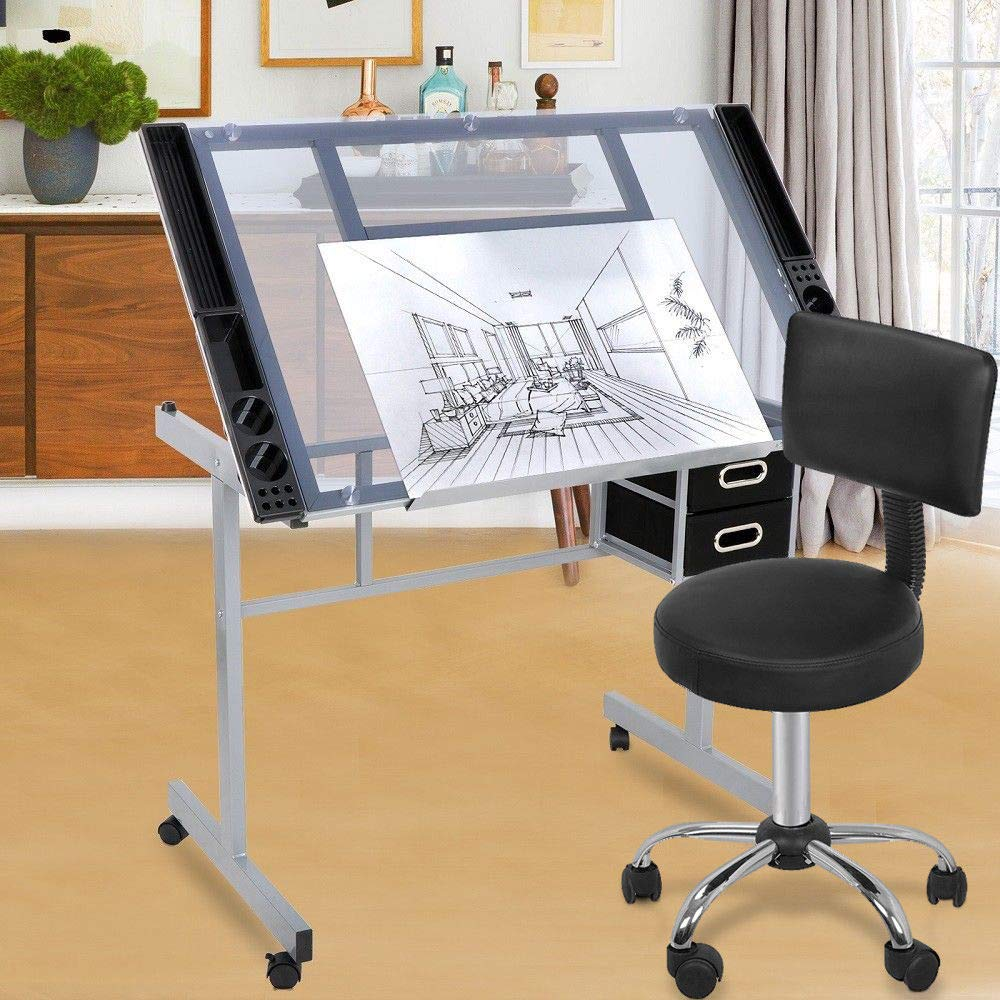 lunanice Drafting Table Craft Station w/Glass Top & Adjustable Spa Salon Stool Chair by lunanice